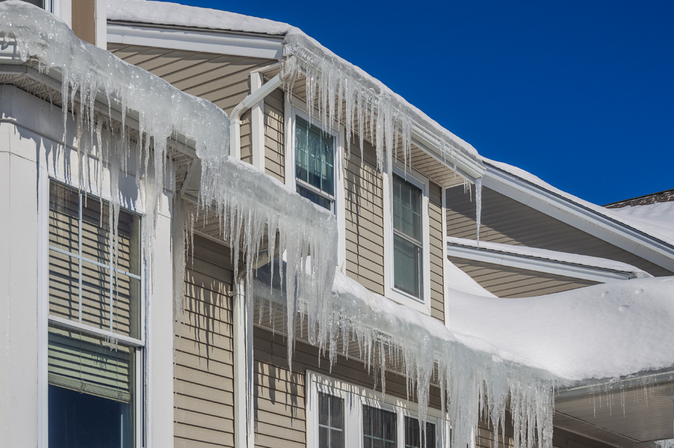 Icicles on roofs cause damage