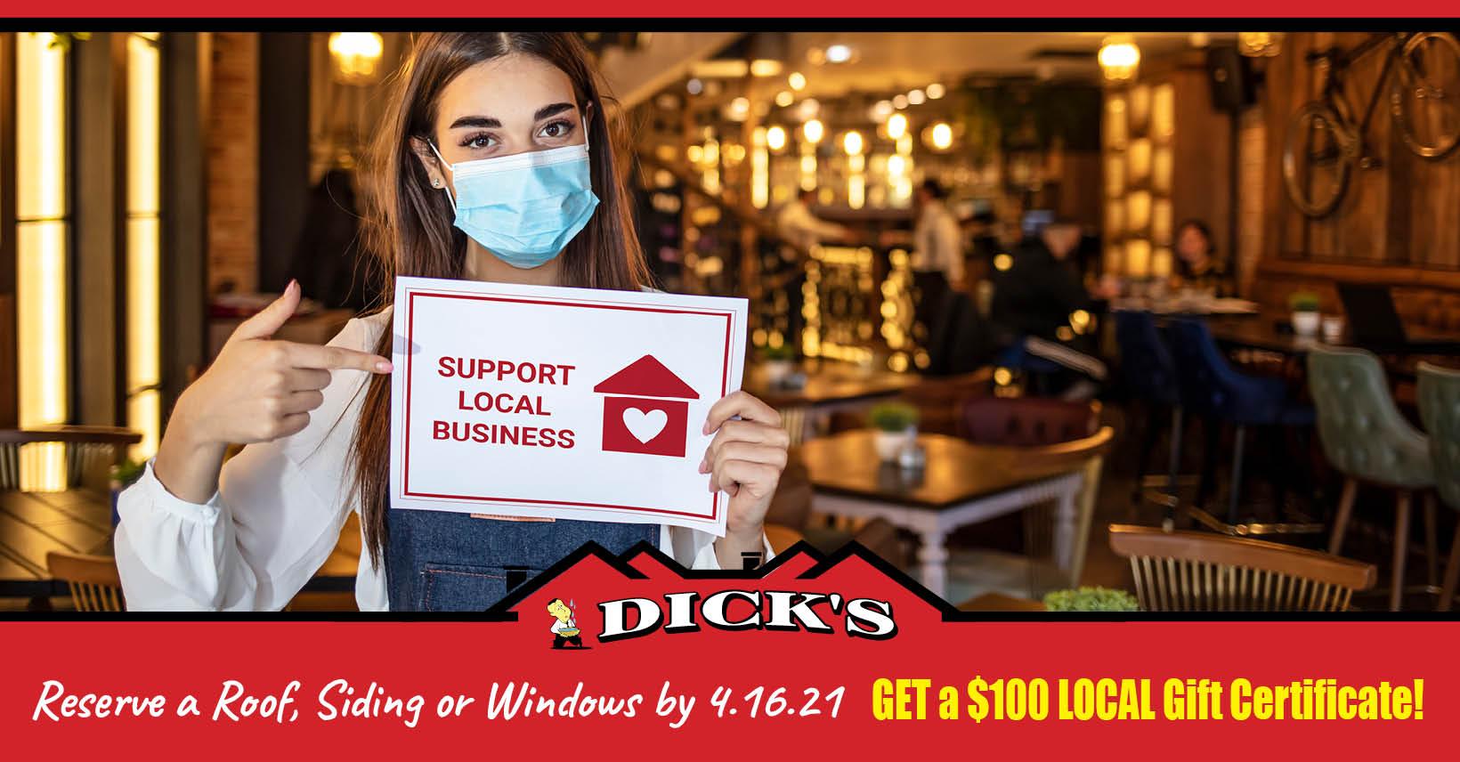 Restaurant Promo Dick's Roofing